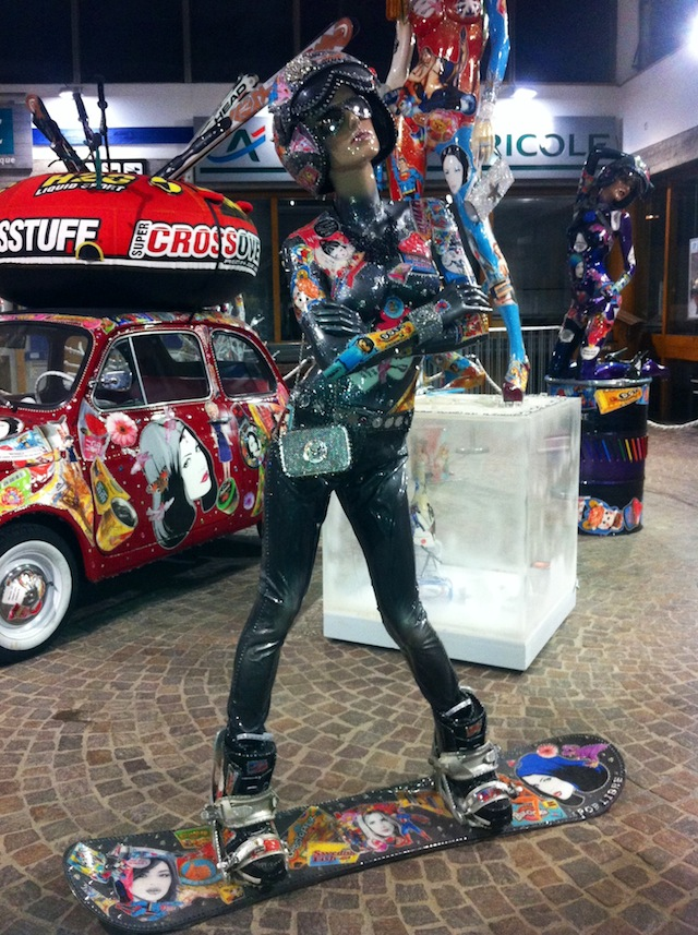 David Cintract Skier Mannequin in front of car